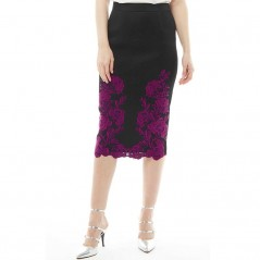 Ted Baker Valari Embroidered Mesh Lace Pencil Dark Red
