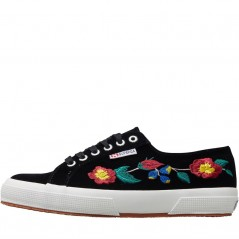 Superga 2750 Embroidered Velvet Black