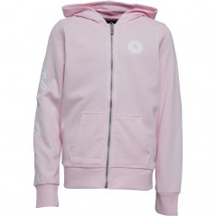 Converse Junior Chuck Taylor Script French Terry Full Hoodie Pink Foam