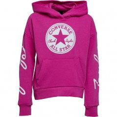 Converse Junior Chuck Taylor Script French Terry Hoodie Active Fuchsia