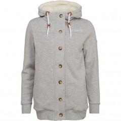 Animal Buttoned Full Hoodie Grey Marl